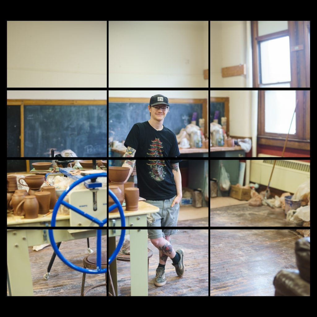 young white male with tattoos in potters studio