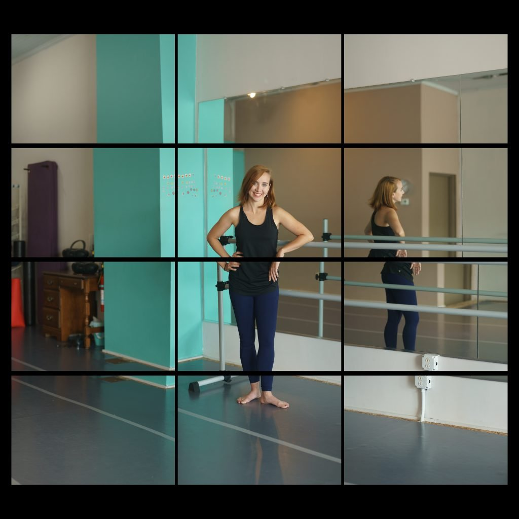 young white woman in dance studio wearing leotards, at barre in front of mirror