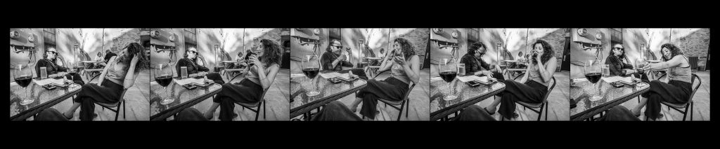 a series of 5 images of a couple talking and drinking wine