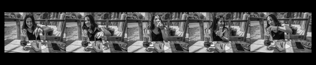 five images of a young woman eating green beans