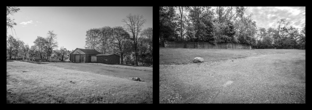 two images - empty dirt lot, garage, back of old brick building, line of trees, large rock at the edge of the driveway